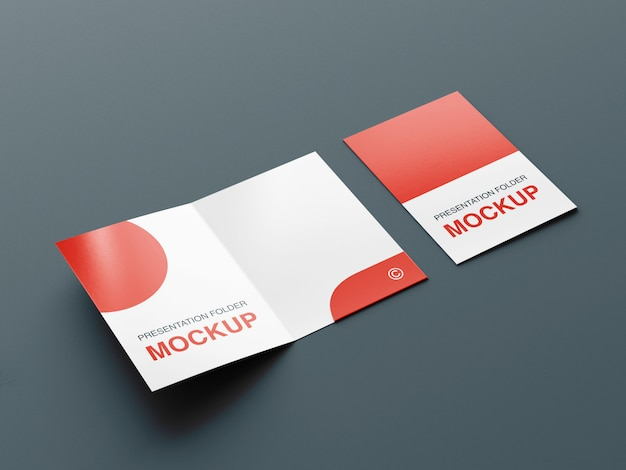 Presentation folder or bifold brochure mockup