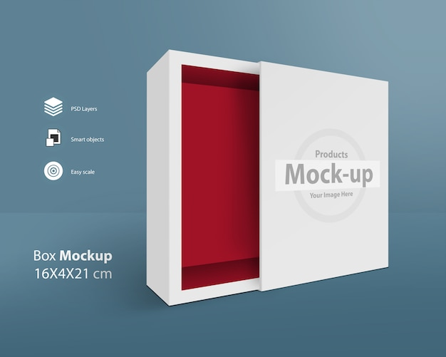 Presentation opened pull out box mock-up