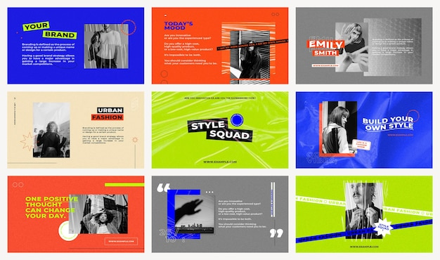 Presentation templates psd set with retro color backgrounds for fashion and trends influencers concept