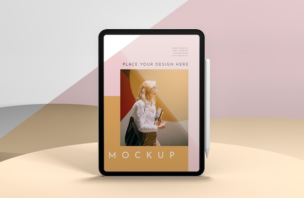 Presentation with tablet screen mock-up
