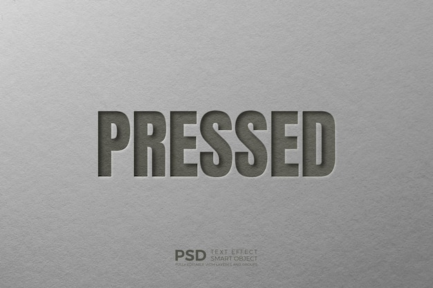 Pressed 3d text effect template