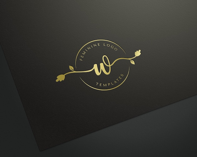 Pressed gold logo mockup on balck paper