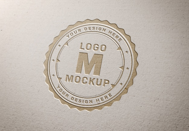 Pressed logo mockup on white paper texture
