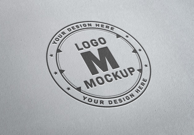 Pressed logo  on white paper texture mockup