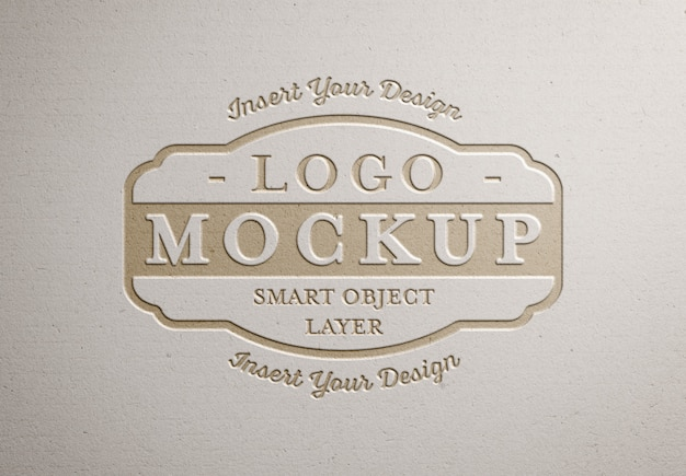 Pressed logo  on white paper texture