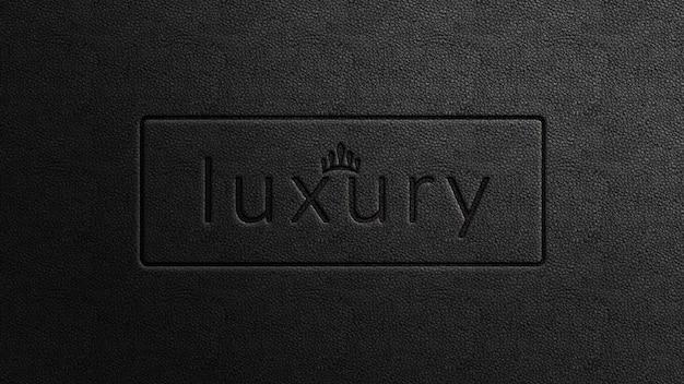Pressed luxury logo mockup on black leather