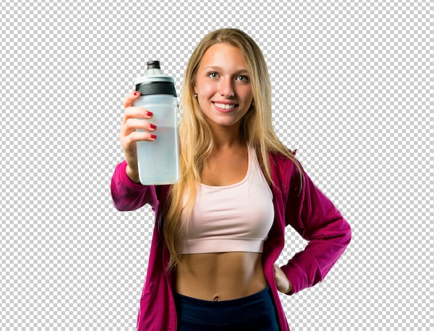 Pretty sport woman with a bottle of water