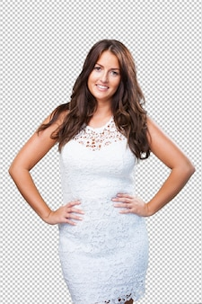Pretty woman smiling on white background