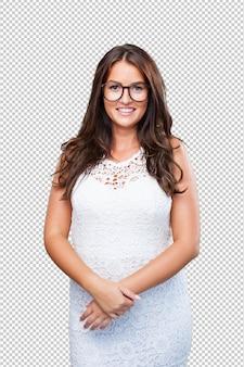 Pretty woman wearing a white dress
