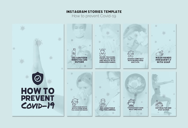 Prevent covid-19 instagram stories template