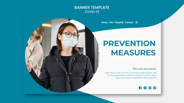 Prevention measures and mask covid-19 banner