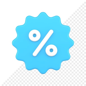 Значок ценника с символом процента 3d визуализации