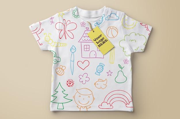 Price tag mockup on t-shirt