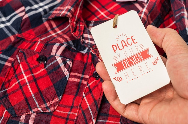 Price tag on shirt psd mockup background