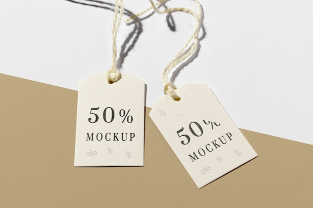 Price tag with discount  on brown and white background