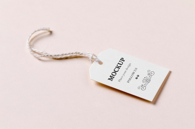 Price tag with discount  on pink background