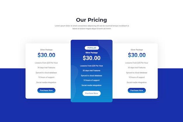 Pricing tables and plans template