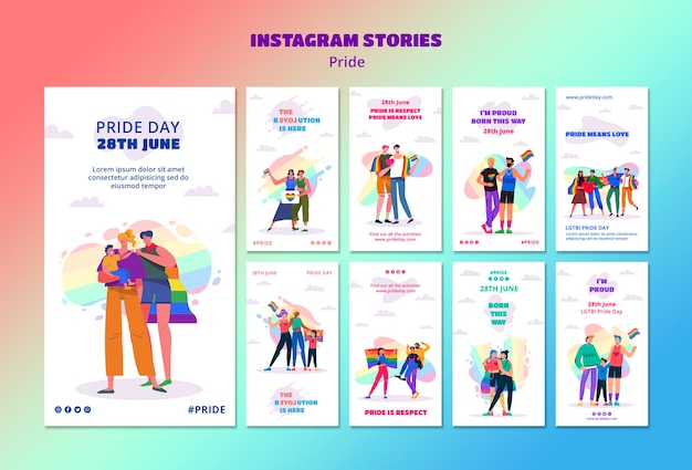 Pride day instagram stories template