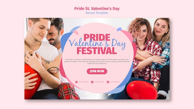 Pride st. valentine's day festival banner template with photo