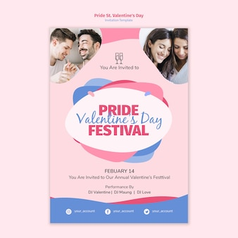 Pride st. valentine's day festival invitation template