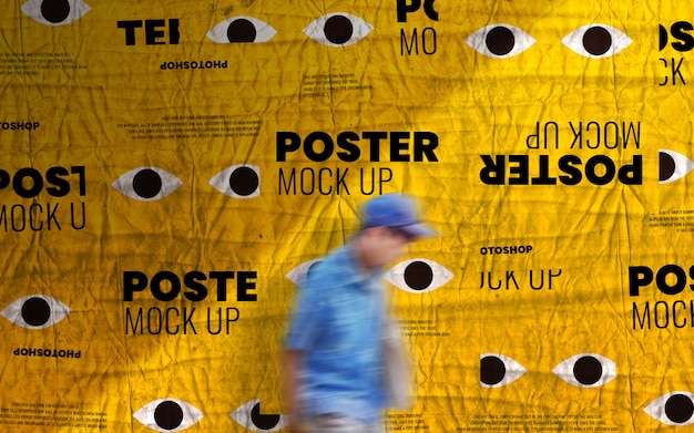 Print advertising poster wall mockup