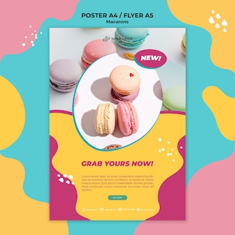 Print flyer template macarons confectionery
