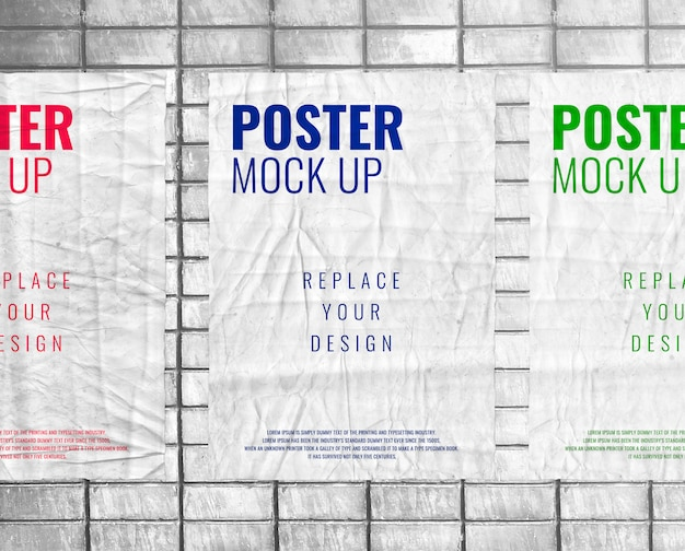Print glued poster mockup realistic