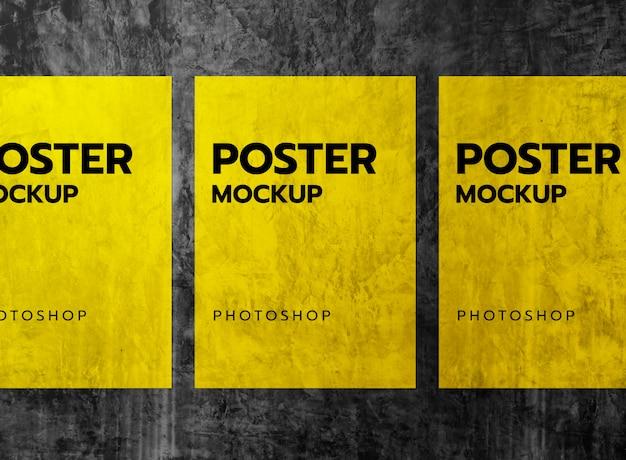 グランジ壁モックアップにポスターを印刷