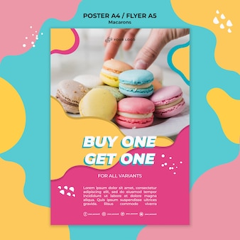Print poster template macarons confectionery