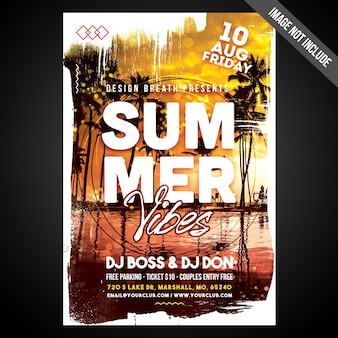Print ready cmyk summer love flyer/poster with editable objects