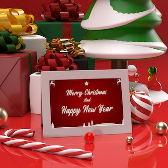 Printed christmas and new year celebration invitation gift card mockup