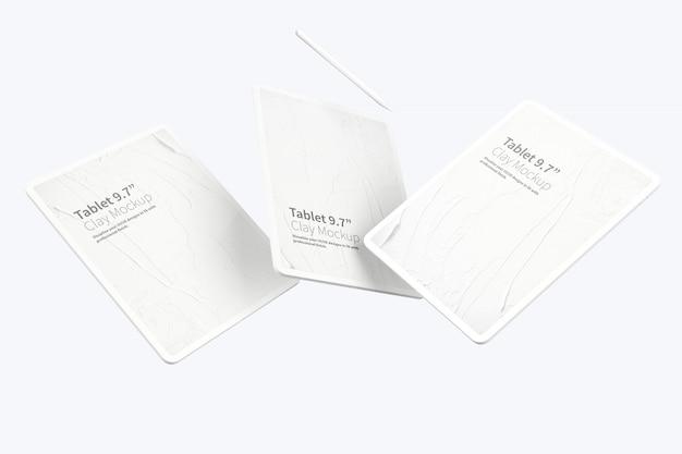 "Глиняный планшет pro 12,9 ""mockup, плавающий"