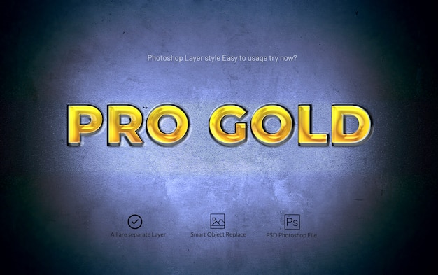 Pro gold photoshop 3d layer style text effect