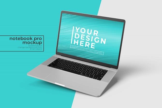 右ビューの右傾斜位置にある高品質のプレミアムラップトップpro psdモックアップデザイン