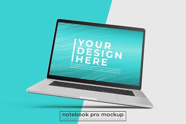 カスタマイズ可能な高品質のパーソナルラップトップpro psdは、右傾いた位置でデザインをモックアップします