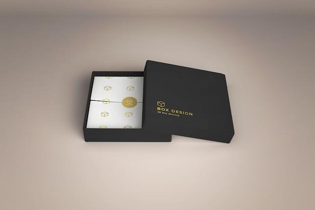装飾された紙のモックアップデザインの製品ボックス