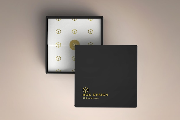Product box with decorated paper mockup design