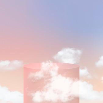 Podio di visualizzazione del prodotto 3d psd con nuvole su sfondo pastello