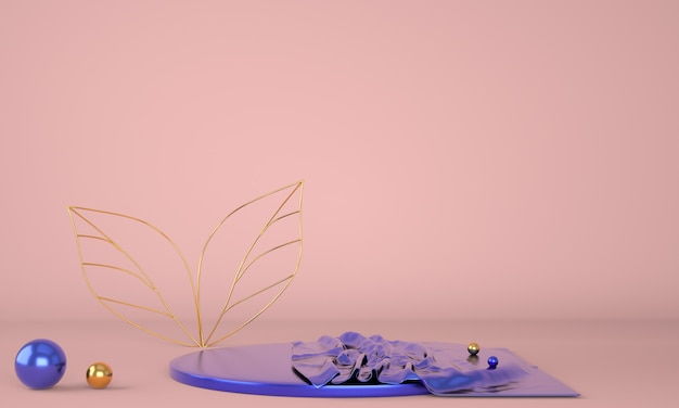 Подиум для демонстрации продуктов, украшенный листьями в 3d иллюстрации