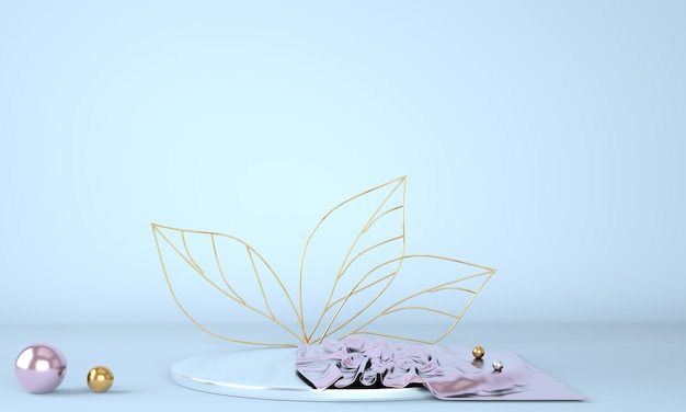 Подиум для демонстрации продуктов, украшенный листьями на пастельном фоне