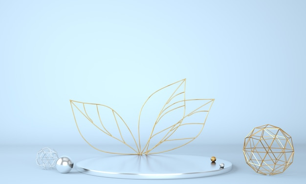 Product display podium decorated with leaves on pastel background in 3d illustration