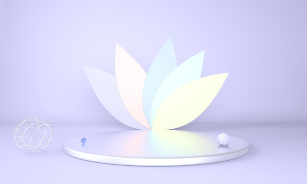 Product display podium decorated with leaves on pastel background in 3d rendering