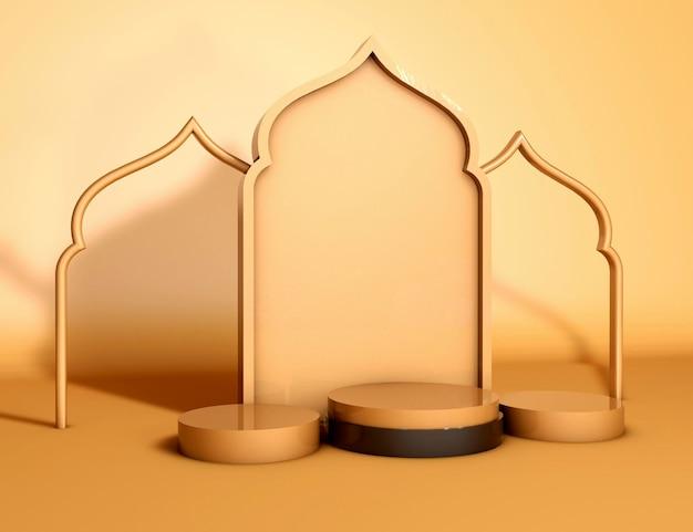 Дисплей продукта рамадан карим исламский церемониальный 3d визуализация