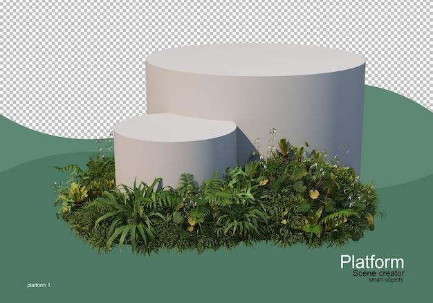 植物で飾られた商品展示スタンド