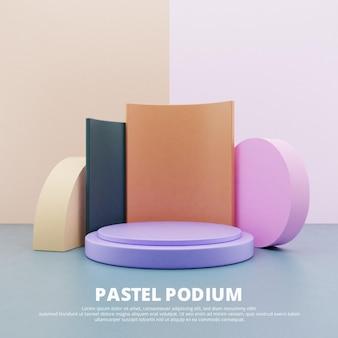 Подиум для продукта с 3d-рендерингом в пастельных тонах