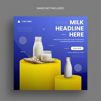 Product social media post banner template or milk sale square flyer