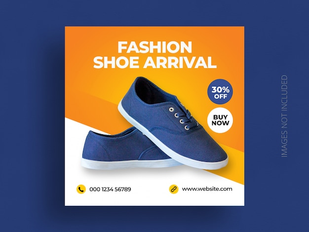 Product social media post banner template or shoe sale marketing square flyer