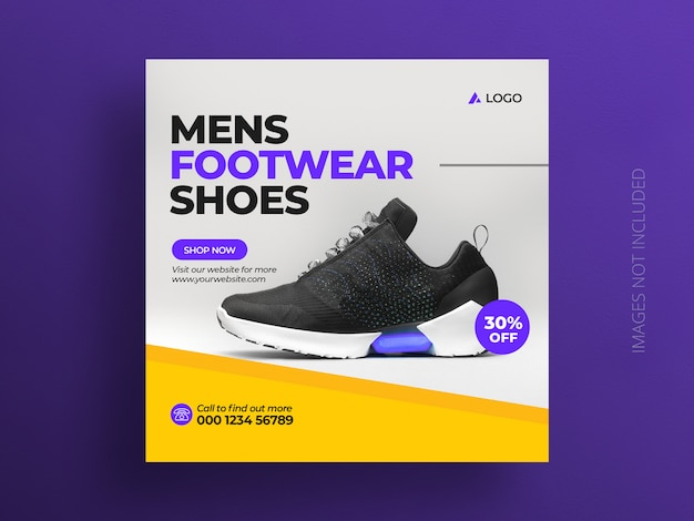 Product social media post banner template or shoes sale square flyer