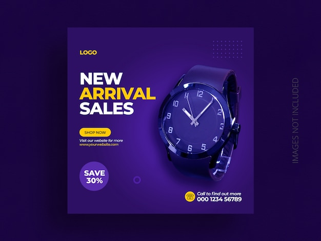 Product social media post banner template or watch sales marketing square flyer