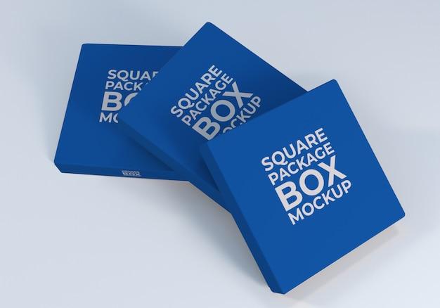 製品の正方形の包装箱のモックアップ
